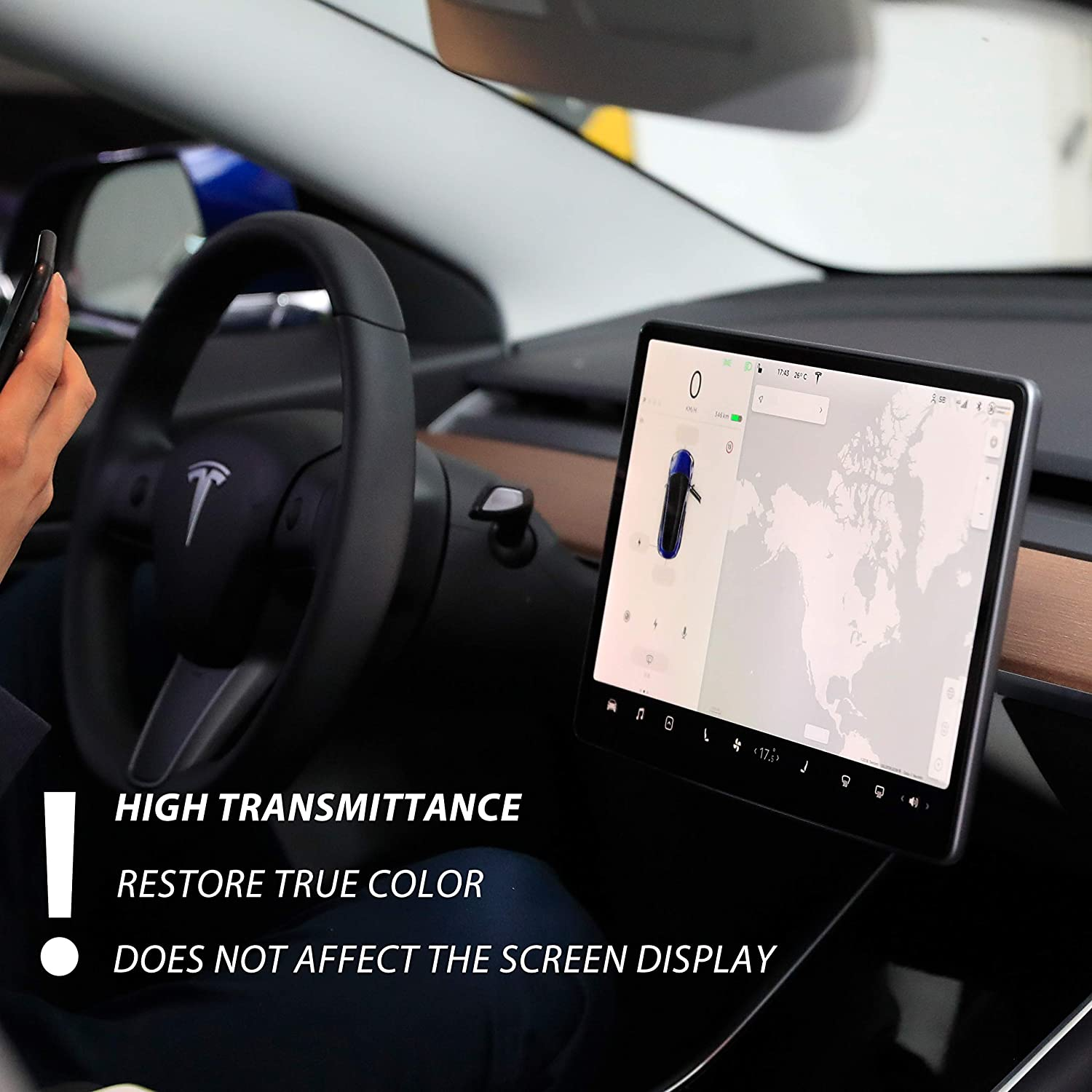 Tempered Glass Screen Protector Anti-Scratch and Explosion-Proof for Tesla Model 3 15 Central Control Touch Screen