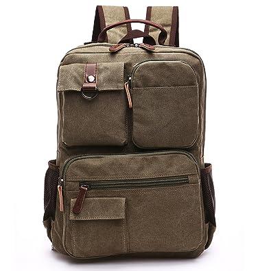 cd08e9b16b MINIBA リュックサック ディパック 多ポケット 上質キャンバス 帆布 ズック メンズ 旅行鞄 通学 通勤