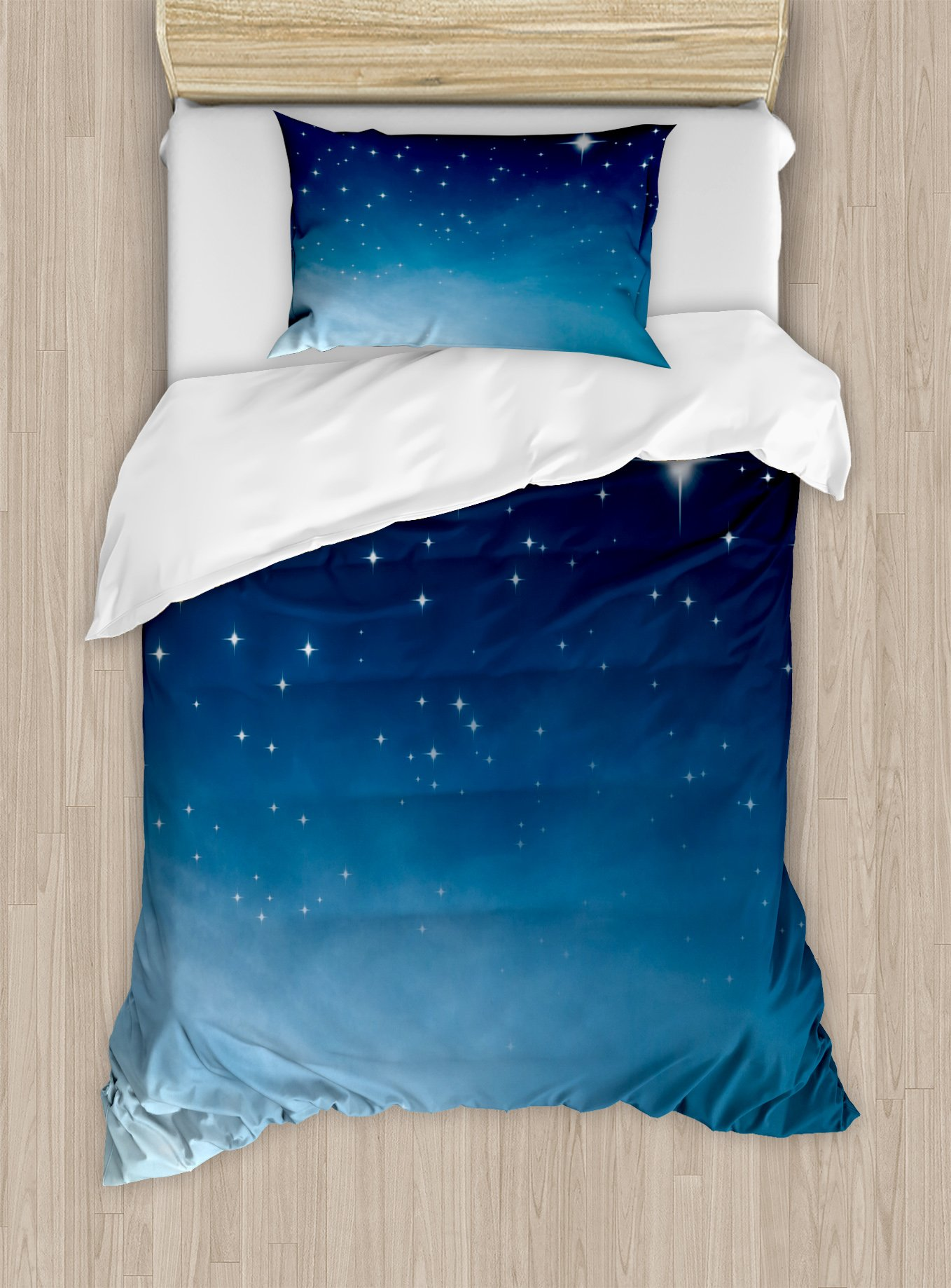 Ambesonne Night Duvet Cover Set Twin Size, Ombre Inspired Sky with Vibrant Stars Universe Astronomy Exploration, Decorative 2 Piece Bedding Set with 1 Pillow Sham, Light Blue Dark Blue White