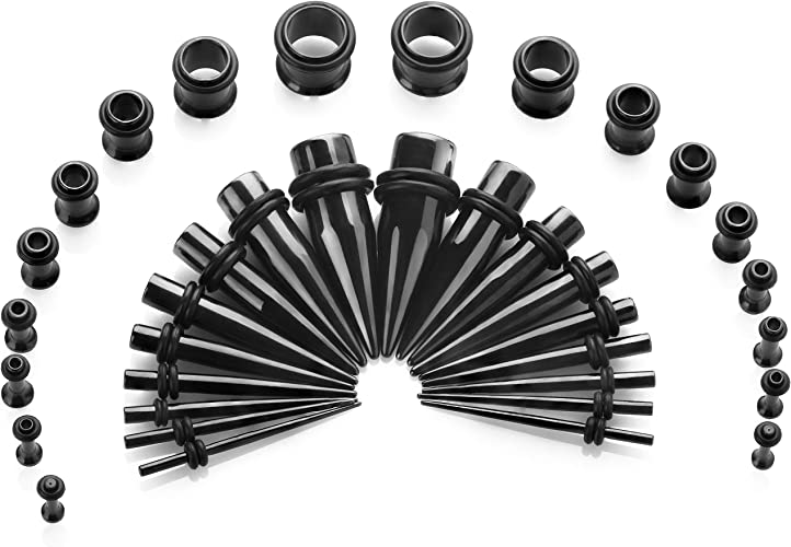 36Pcs Gauges Kit Tapers Plug Tunnel 14G-00G Ear Stretching Ear Lobe Expander