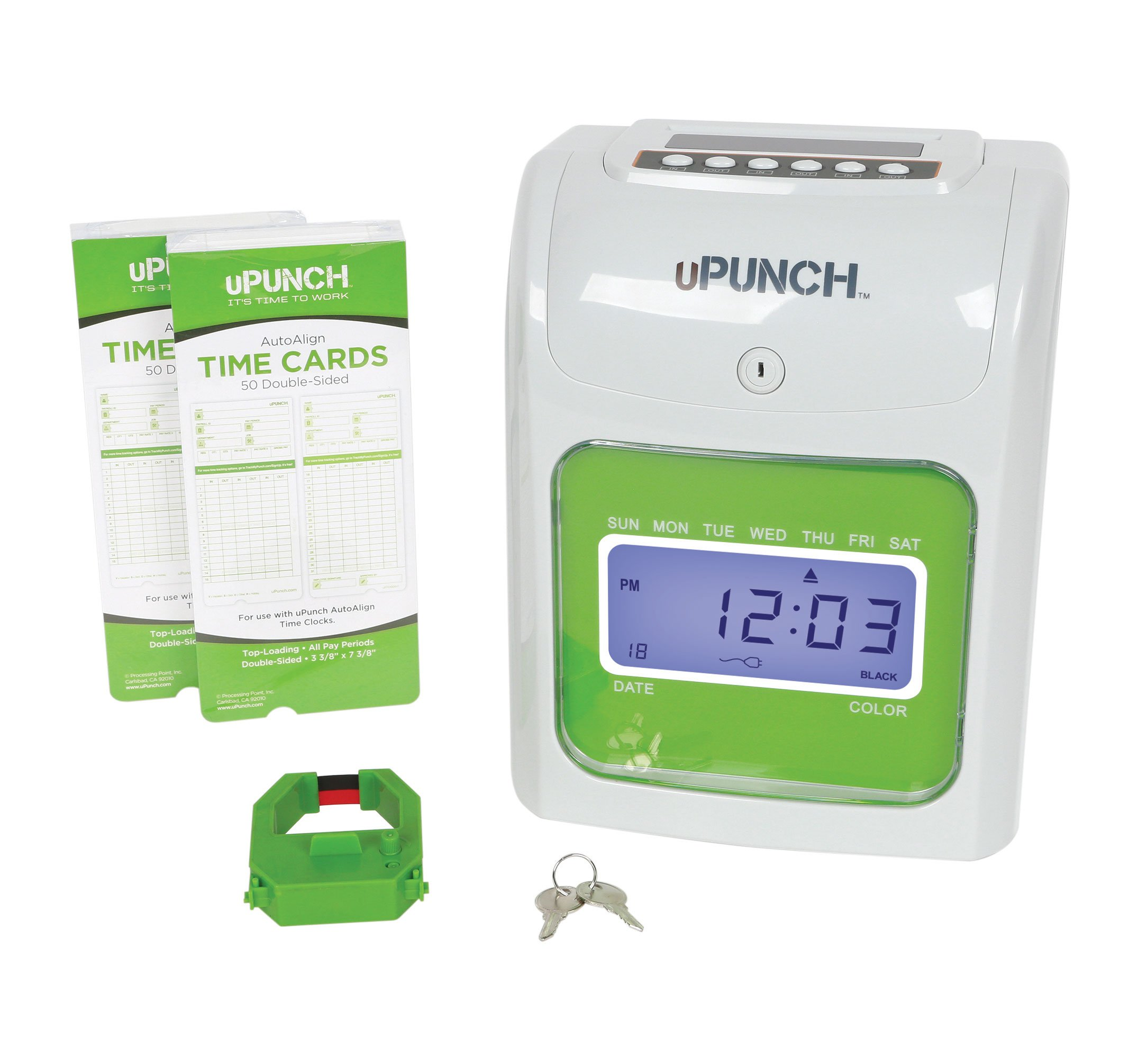 uPunch Mini Time Clock Bundle with 100-Cards, 1 Ribbon & 2 Keys (HN1500)