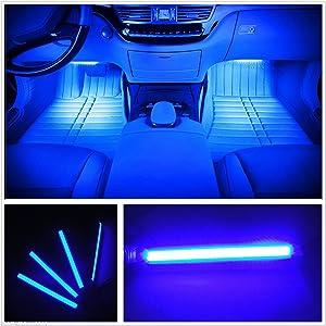 Car LED Strip Light, EJ's SUPER CAR 4pcs 36 LED Car Interior Lights Under Dash Lighting Waterproof Kit,Atmosphere Neon Lights Strip for Car,DC 12V(Blue)…