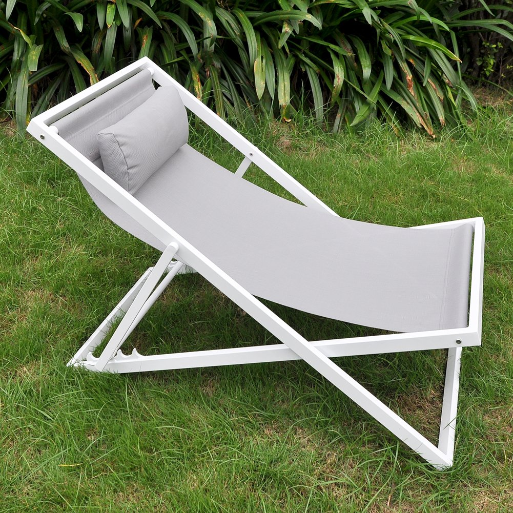 Amazon.com: ART TO REAL Beach Folding Chair With Headrest, Outdoor Patio  Sling Chair, Lightweight Camping Chaise Lounger Chairs: Garden U0026 Outdoor