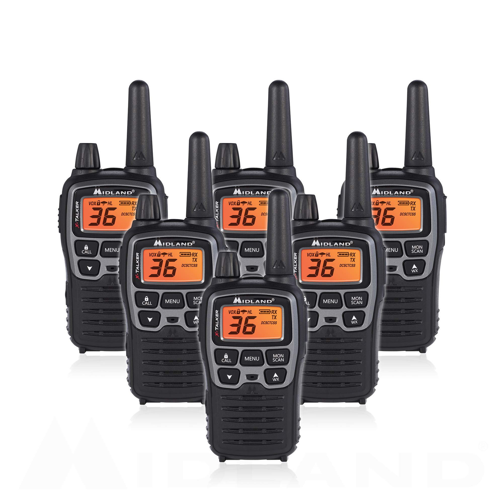 Midland T71VP3 36 Channel FRS Two-Way Radio - Up to 38 Mile Range Walkie Talkie - Black/Silver (Pack of 6)