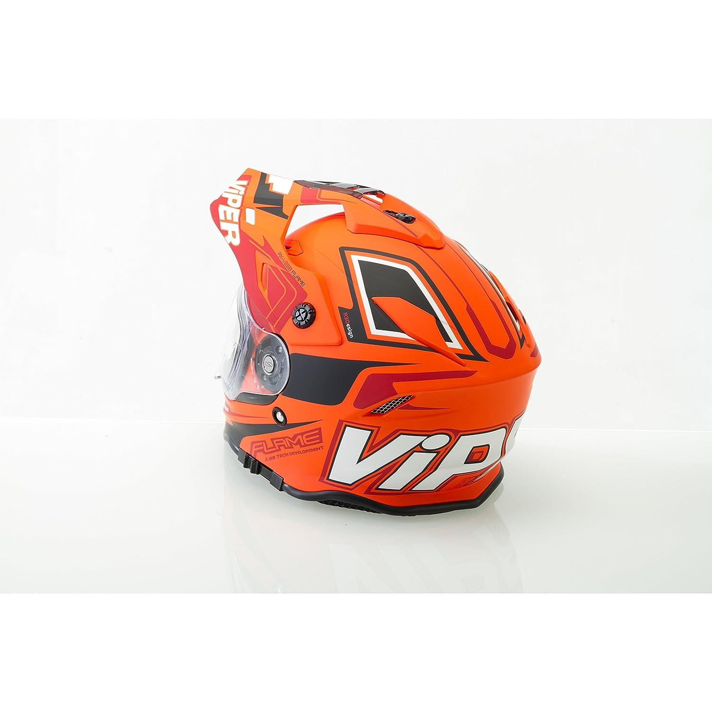 Orange L Casque de Moto pour Enfant Motocross Cross Off-Road Noir Mat ATV Quad
