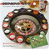 Jonquin Shot Glass Roulette Drinking Game Set with Poker Chips in Tin Case