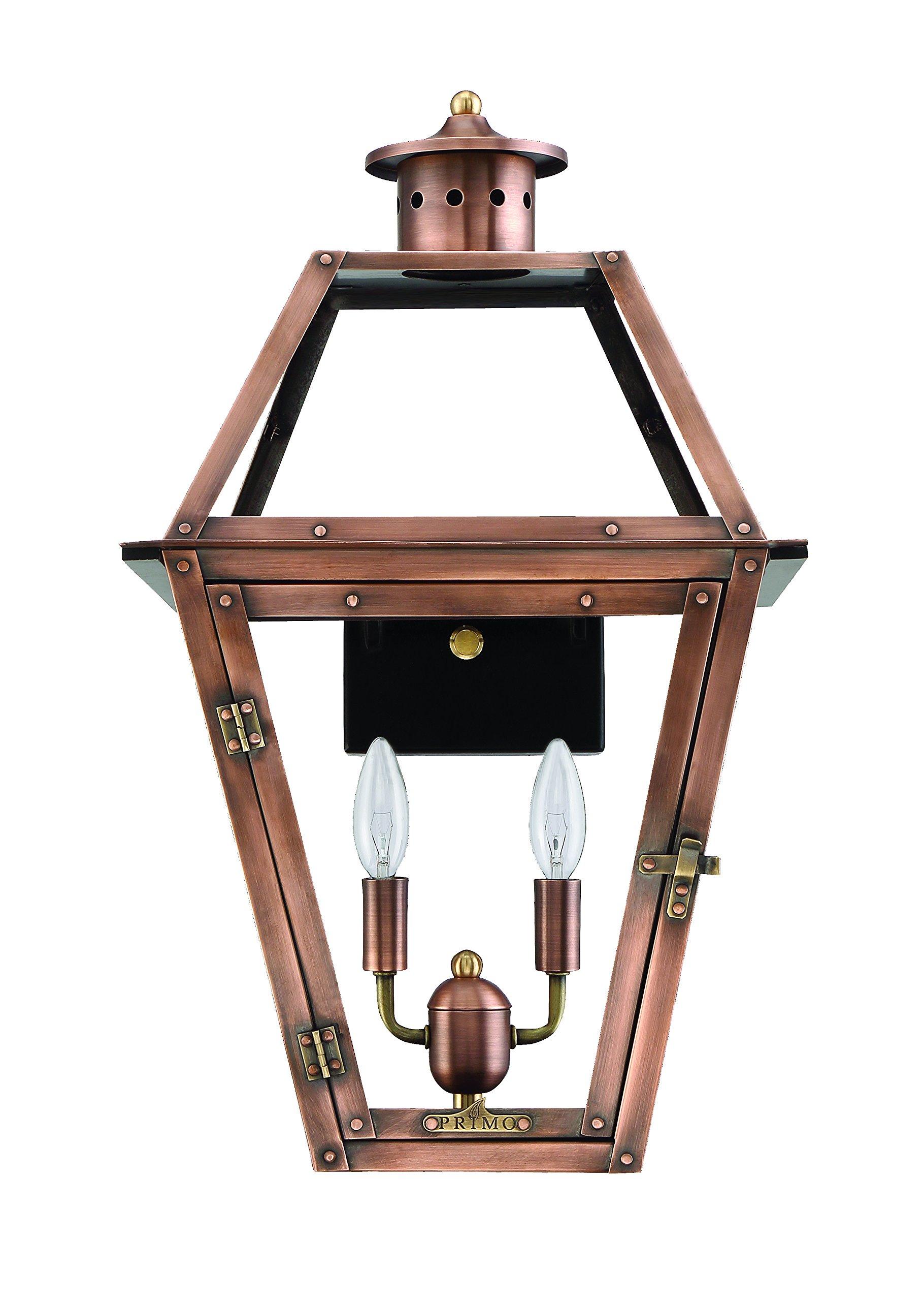 Primo Lanterns OL-18E Orleans Electric Lantern 18'' x 10.5'' x 12.5'' Copper