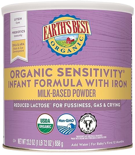 De la Tierra Mejor Orgánica, sensibilidad leche maternizada con hierro, 23,2 oz