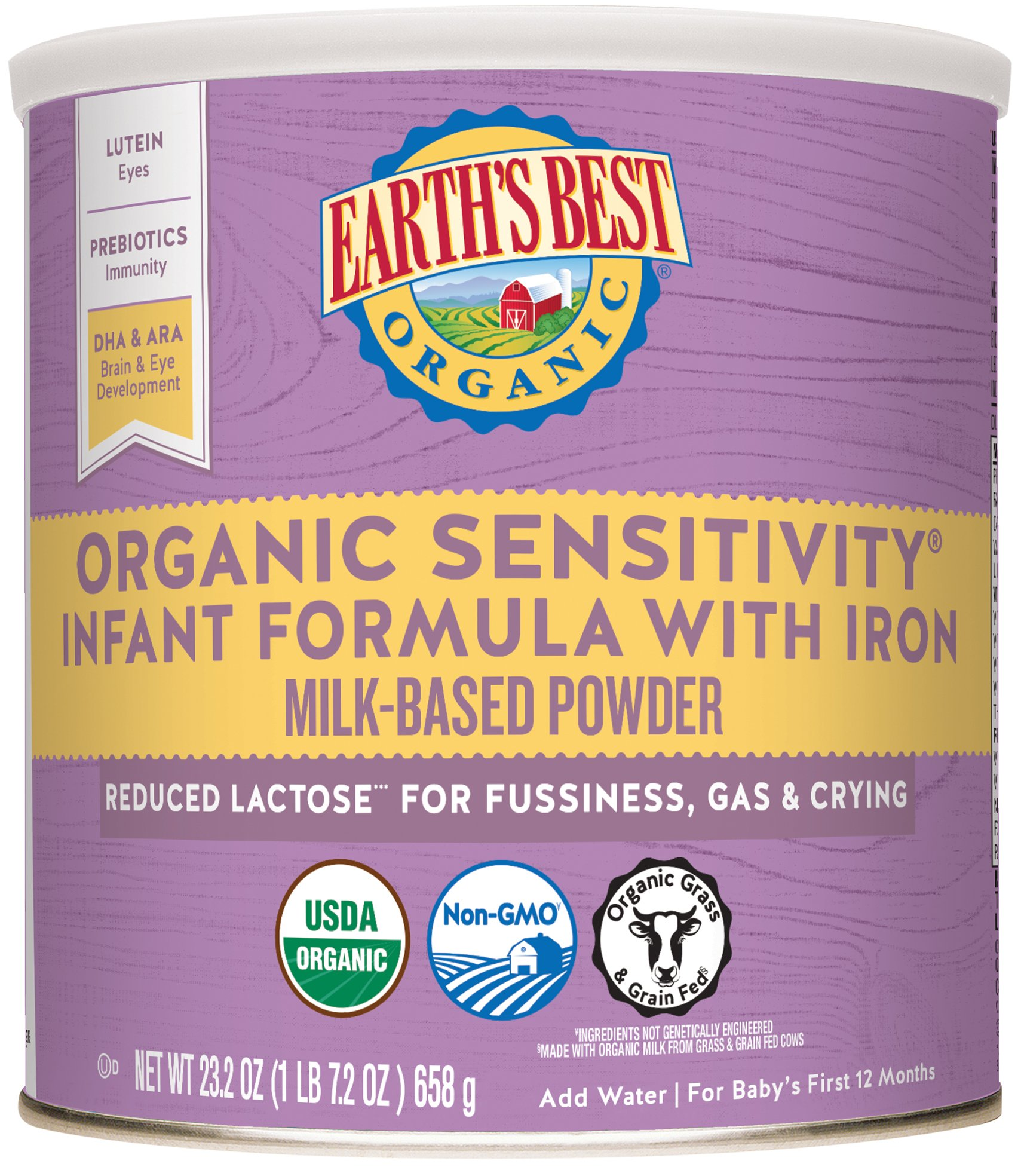 Earth's Best Organic Low Lactose Sensitivity Infant Powder Formula with Iron, Omega-3 DHA and Omega-6 ARA, 23.2 oz. (Pack of 4) by Earth's Best (Image #1)