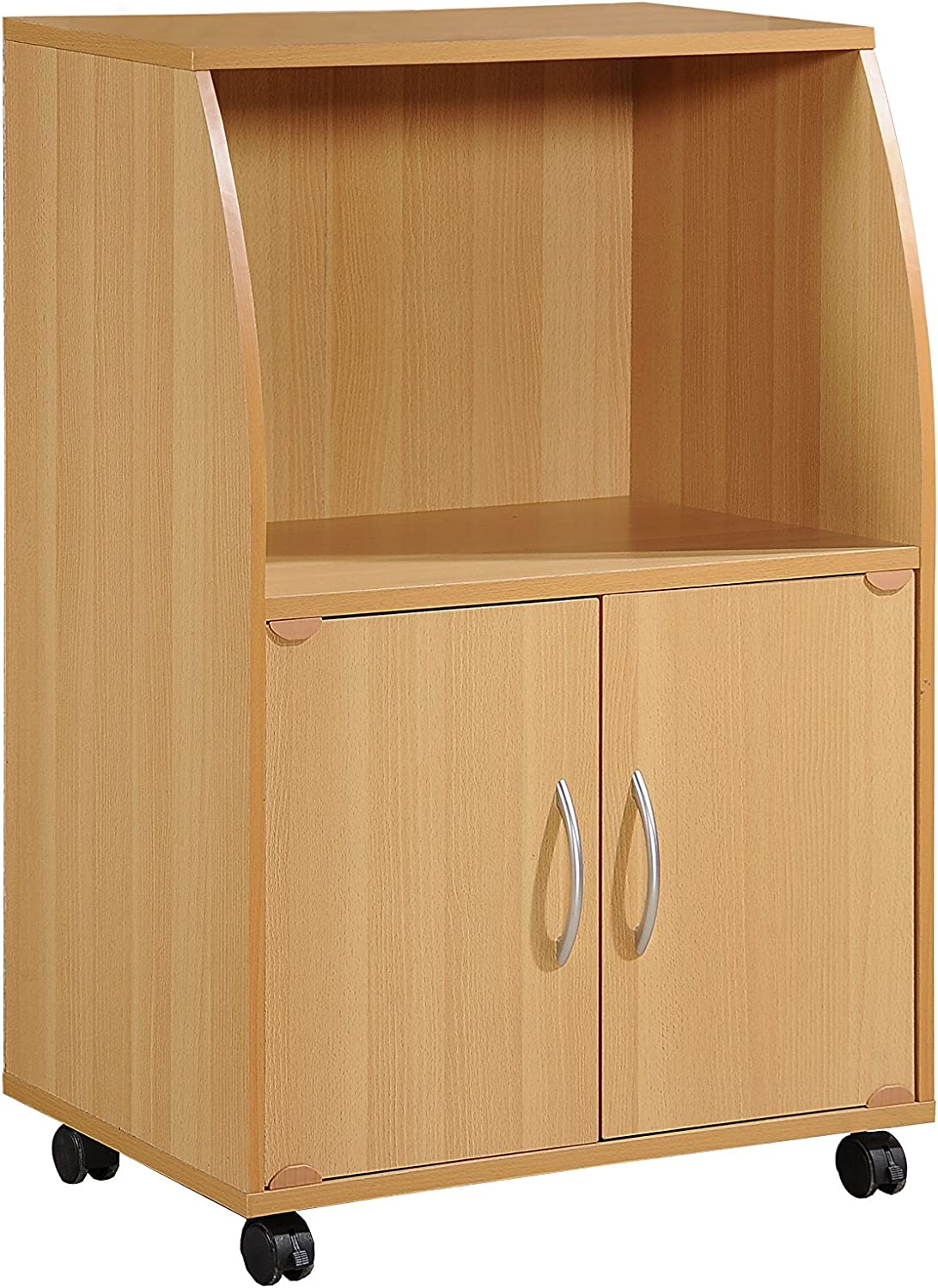Hodedah Mini Microwave Cart with Two Doors and Shelf for Storage, Beech