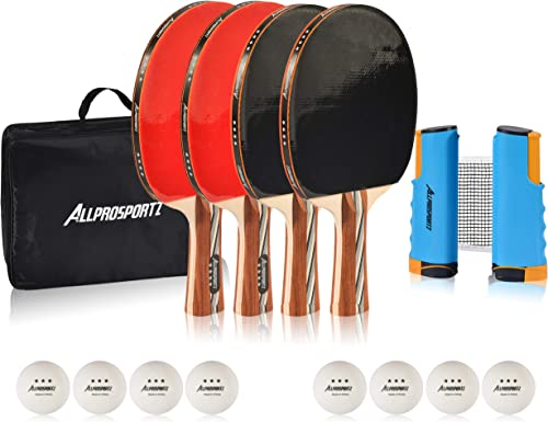Allprosportz Ping Pong Paddle – Complete ping Pong Paddles Set of 4 – Including 4 Table Tennis Paddles – 8 Premium 3 Star ping Pong Balls – Adjustable net Suit Any ping Pong Table – Storage case