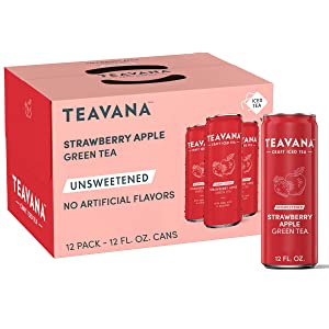 Teavana Craft Strawberry Apple Iced Natural Green Tea Zero Calories with Hibiscus, Rosehips Flavor 12 Fl. Oz. Cans (Pack of 12)