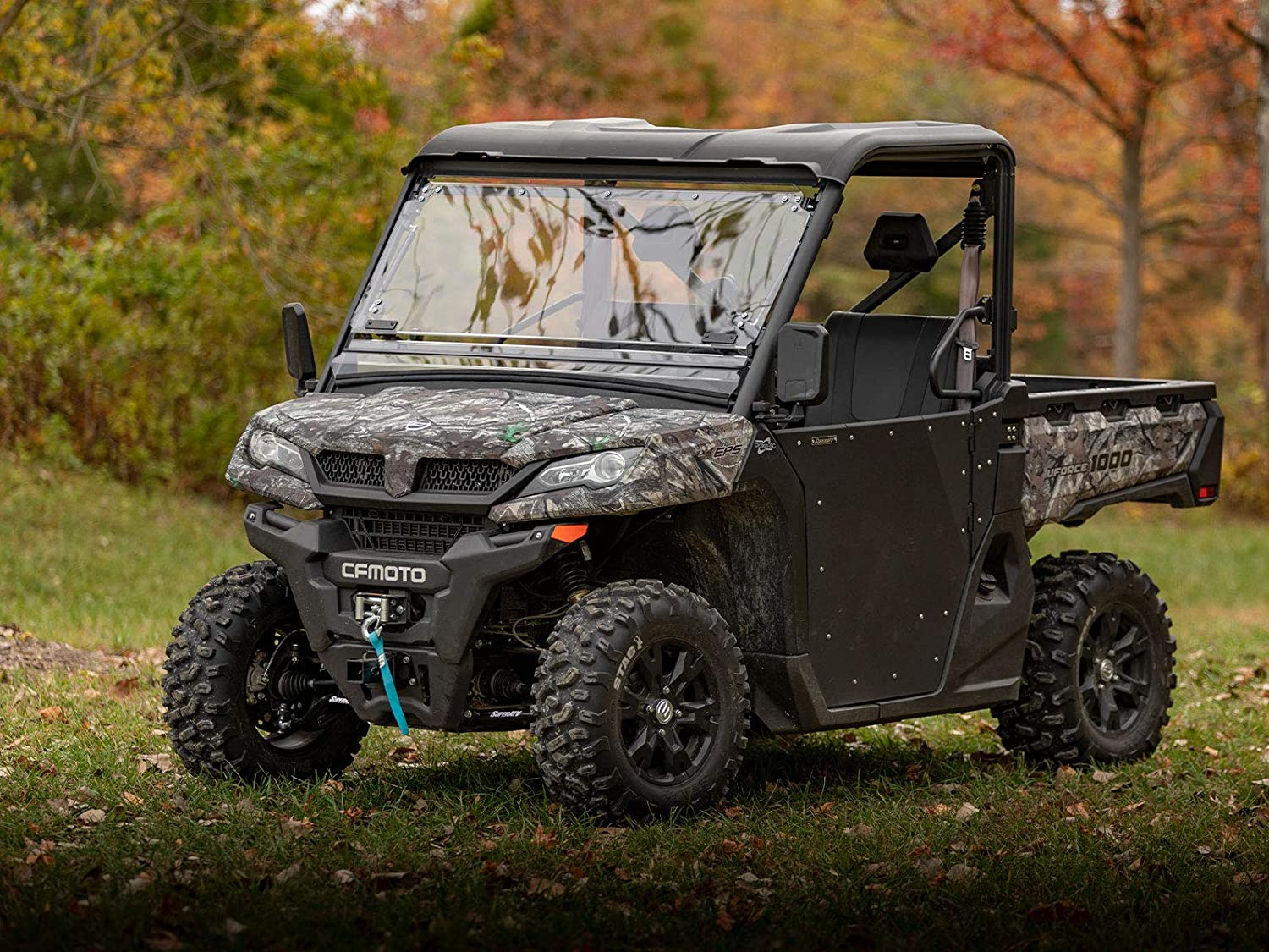 SuperATV Heavy Duty Scratch Resistant Flip Windshield for CFMOTO UForce 1000 2019+ Designed for Year-round Riding!