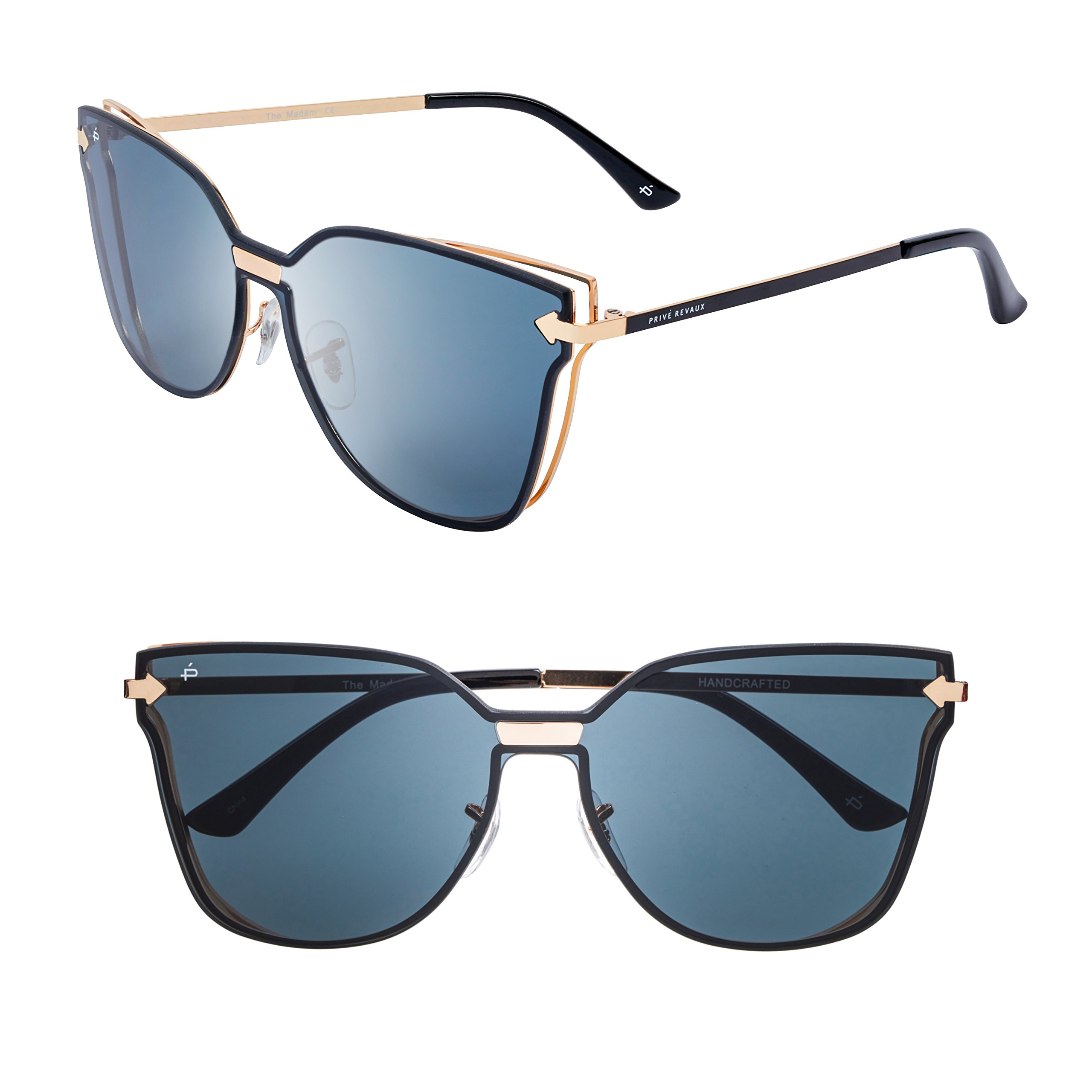 "PRIVÉ REVAUX ""The Madam"" Handcrafted Designer Cat-Eye Sunglasses"