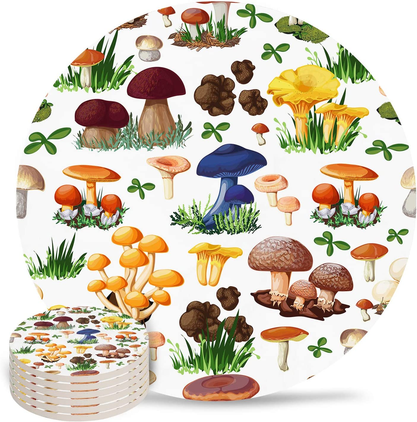Absorbent Ceramic Drink Coasters for Table Decor, Cartoon Plant Mushroom Child Heat-Proof Cups Place Mats for Wine Glasses Cups & Mugs, 6 PCS Set Round Coaster for Home or Bar Use