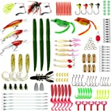 Fishing Lures Set, Baits Tackle Including Crank-baits Spinner-baits Plastic Worms Jigs Top-Water Lures Tackle Box and…