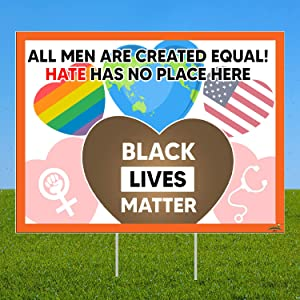 YMB SOIRA Black Lives Matter Yard Sign 24 X 18 | We Believe Black Lives Matter | Love is Love | Corrugated Plastic with H-Stake | Hate Has No Home Here | Science is Real | Kindness is Everything