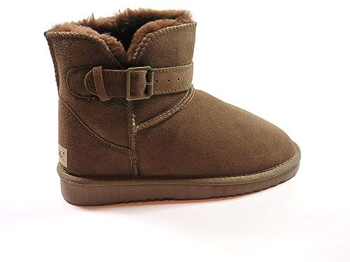 SUPER s6x Lammfell Stiefel kurz Schaft Damen Stiefel Australisches Lammfell, Lammfell Short Boots Lammfell, Grau Cognac braun