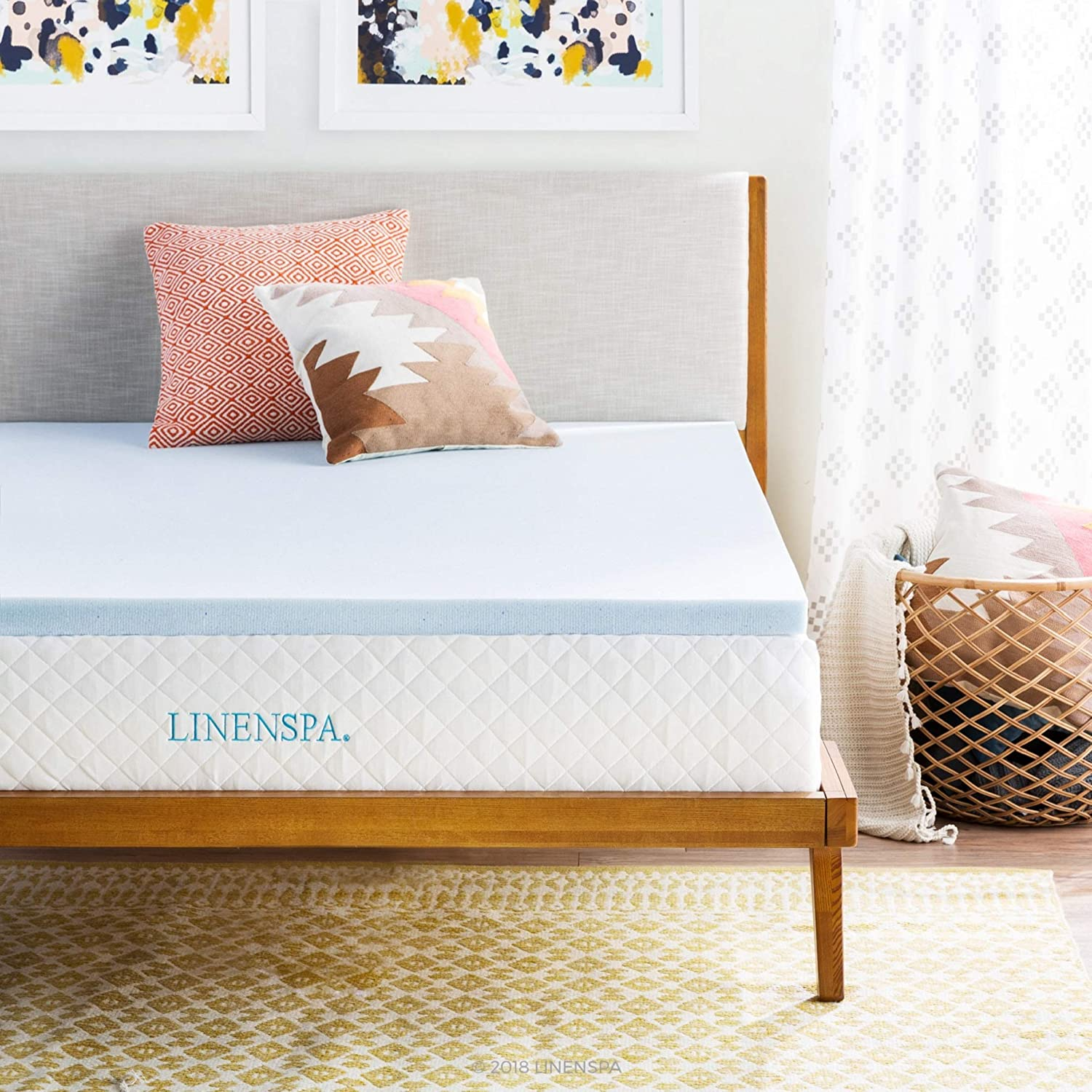 LINENSPA 2 Inch Gel Infused Memory Foam Mattress Topper, Full, Blue: Home & Kitchen