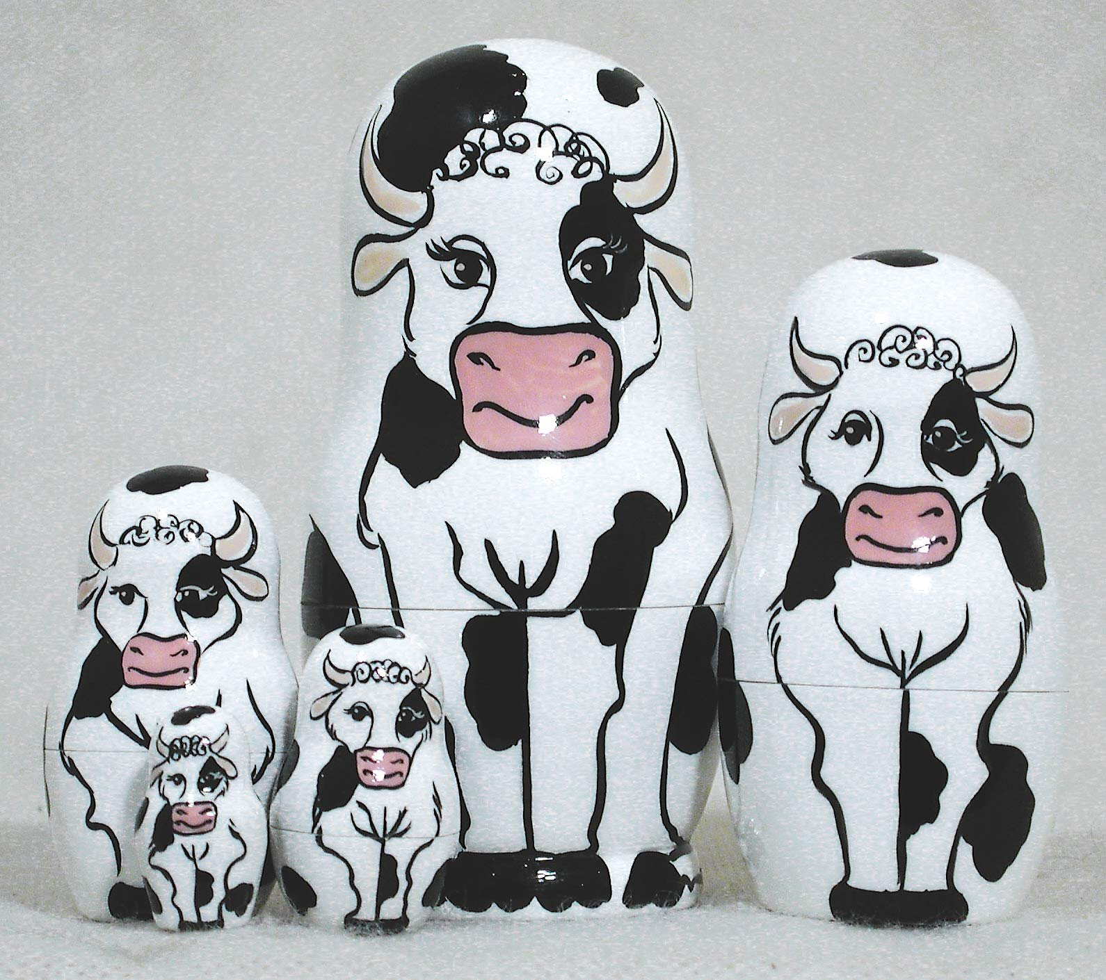 Holstein Cow 5 Piece Russian Wood Nesting Doll Matryoshka Stacking Dolls Russia by Golden Cockerel