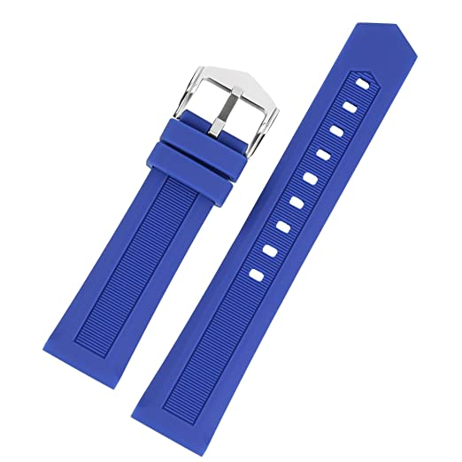 884f41b78 18mm Premium Dive Watch Bracelet Water Resistant Breathable Silicon Belt  Replacement for Sport Watch Blue: Amazon.co.uk: Watches