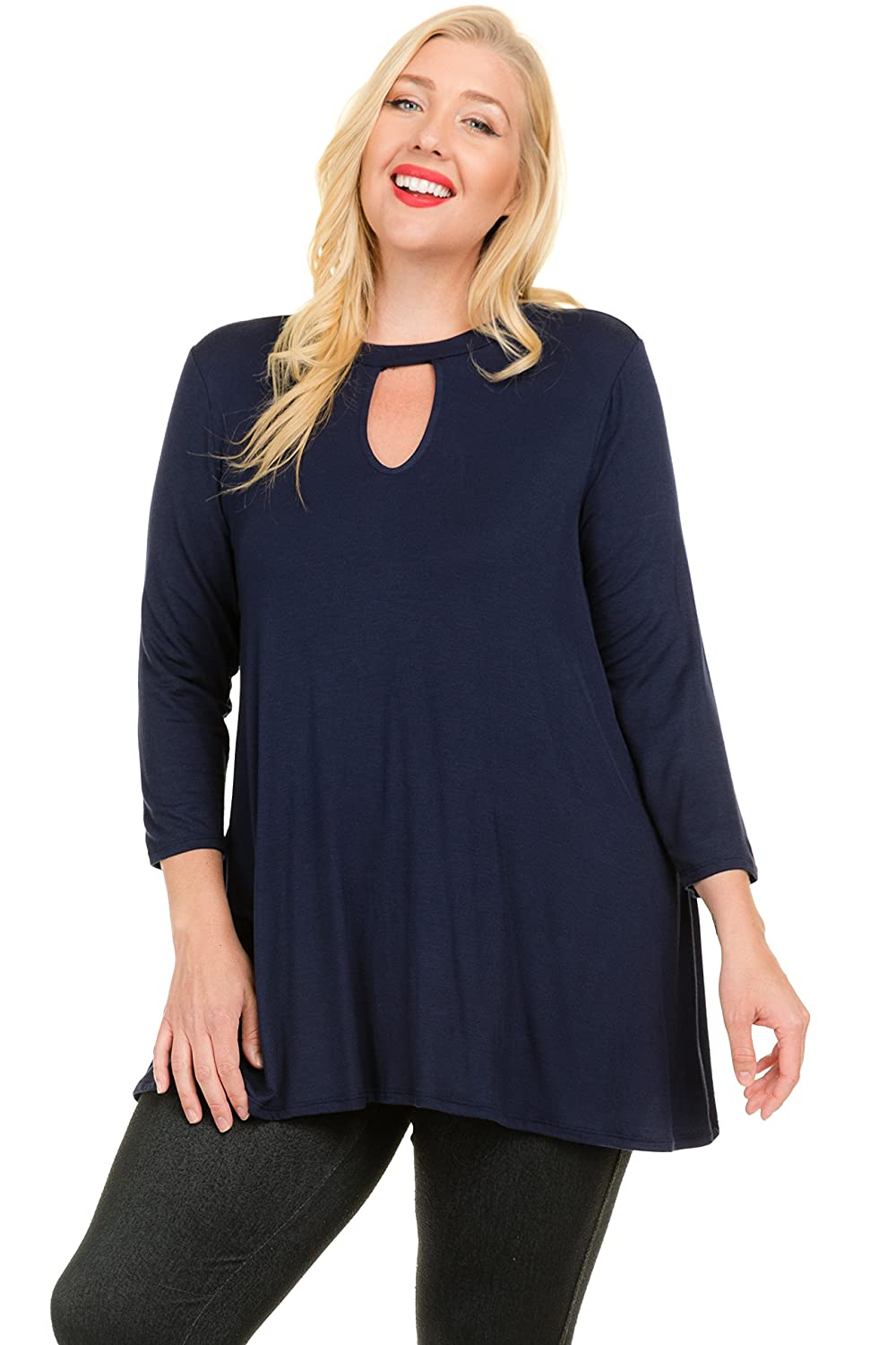 4ade2e5cd65 Janette Plus Plus Size Solid Jersey Tunic Blouse Top Featuring  Three-Quarter Sleeves and Open Neckline at Amazon Women s Clothing store