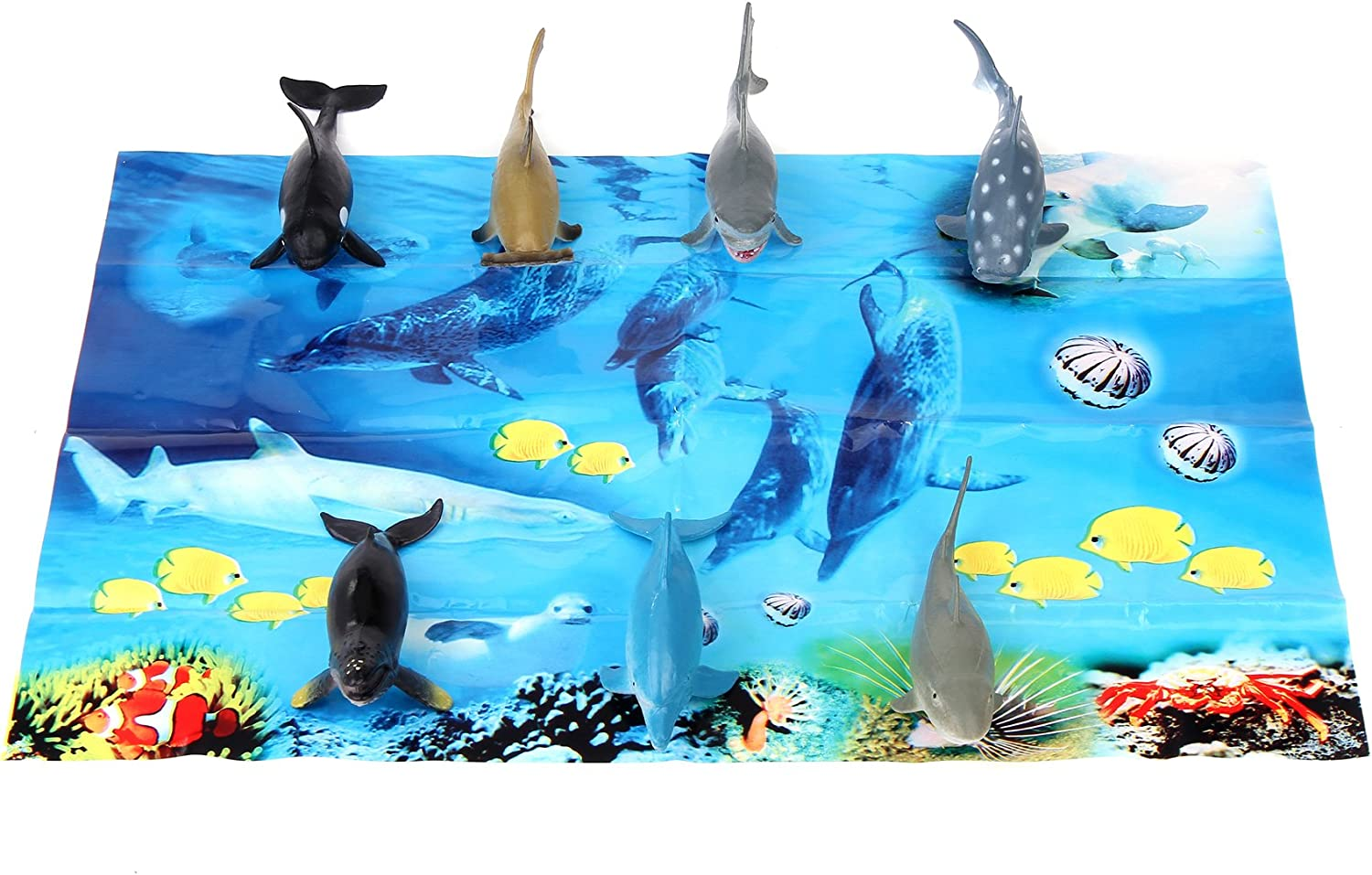 Fun Central 7 Pieces Shark Tub for Kids /& Toddlers with Playmat Assorted Styles Shark Figurines Bath Toys
