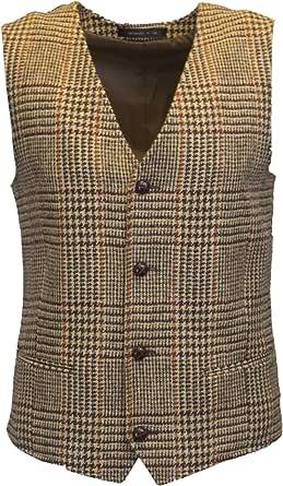 Walker & Hawkes – herr Country-Weste – klassiskt skotbord av Harris-Tweed – Overcheck-tartanmönster – sandbrun – S-3XL