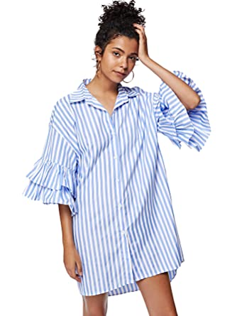 24904e8fb306 Floerns Women's Summer Causal Bell Sleeve Button Down Striped Shirt Dress  Blue and White S at Amazon Women's Clothing store:
