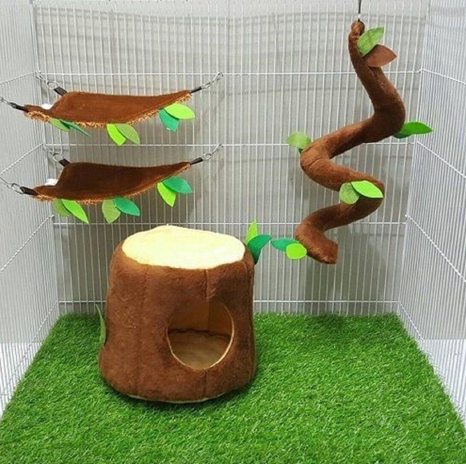 4 Pcs Sugar Glider Hamster Squirrel Chinchillas Small Pet Cage Set Vertical Log Forest Pattern Light Brown Color, Polar Bear's Republic by Polar Bear's Pet Shop