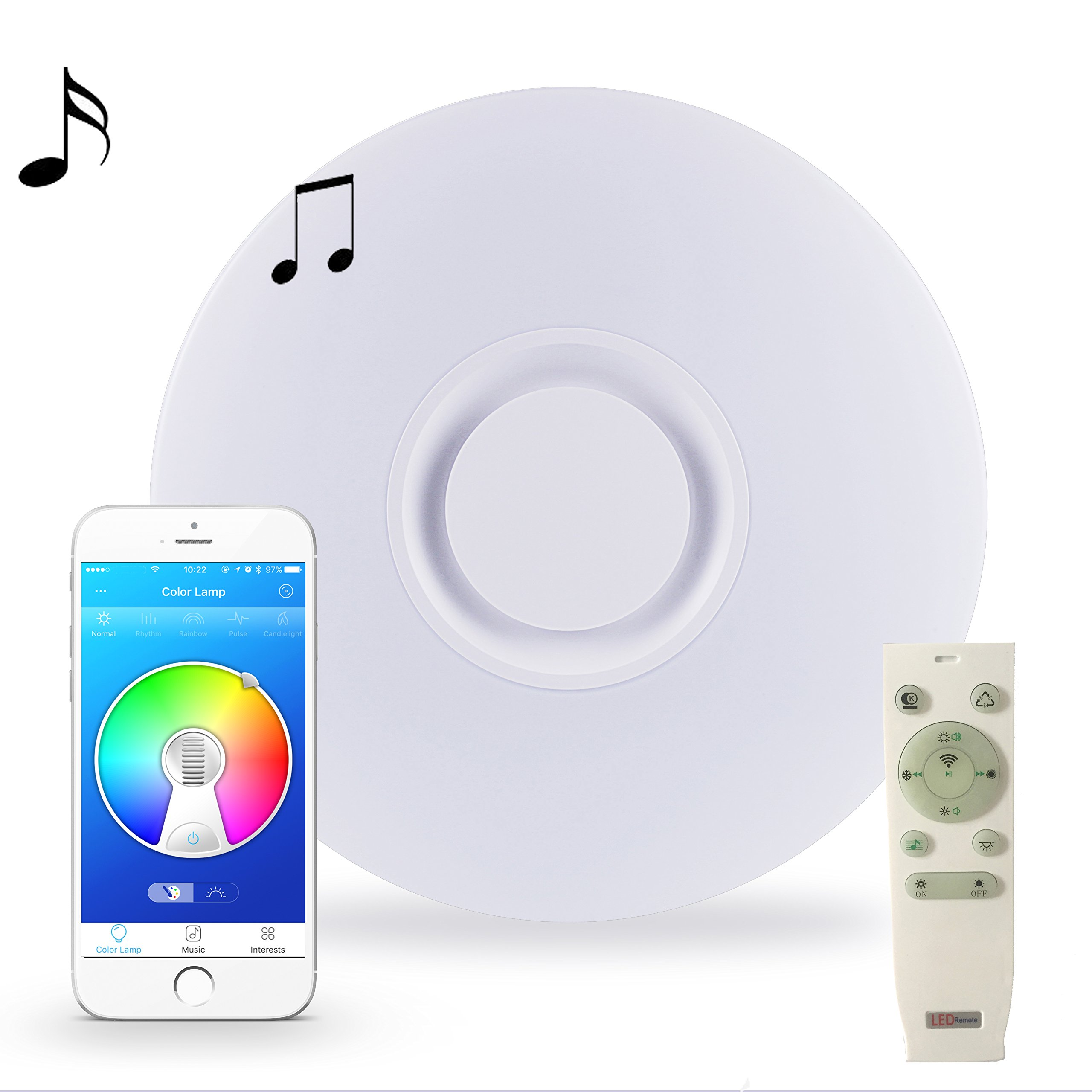 HOREVO LED Ceiling Light with Remote Control, Built-in Bluetooth Speaker, 36W Ø50cm 19.7 Inch Smartphone APP Control, RGB Color Changing, Cool/Warm Light, Flush Mount Fixture for Bedroom Party