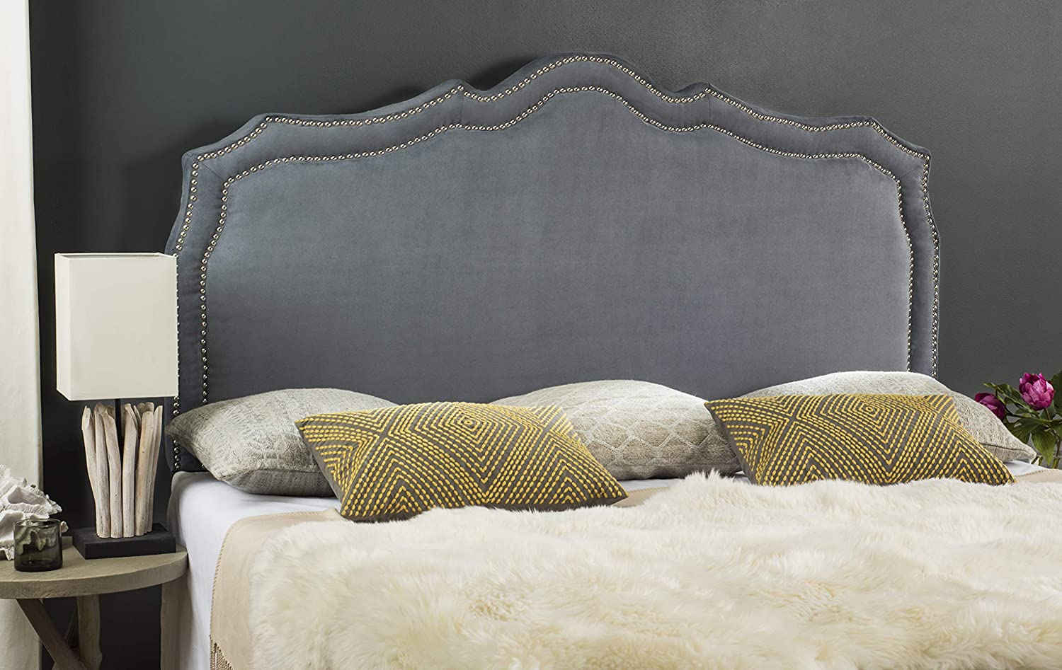 Safavieh Mercer Collection Skyler Grey Silver Nailhead Headboard Queen