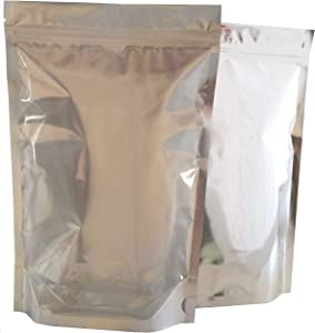 50 Pack Smell Proof Bags Mylar Bags Ziplock Stand Up 1 Gallon 9.4X13.8 Inch XL Clear-Front Silver-Back Heat Seal Resealable Airtight Zipper Pouches Food Storage Bags Aluminum Foil Bags (50, 9.5x14CS)
