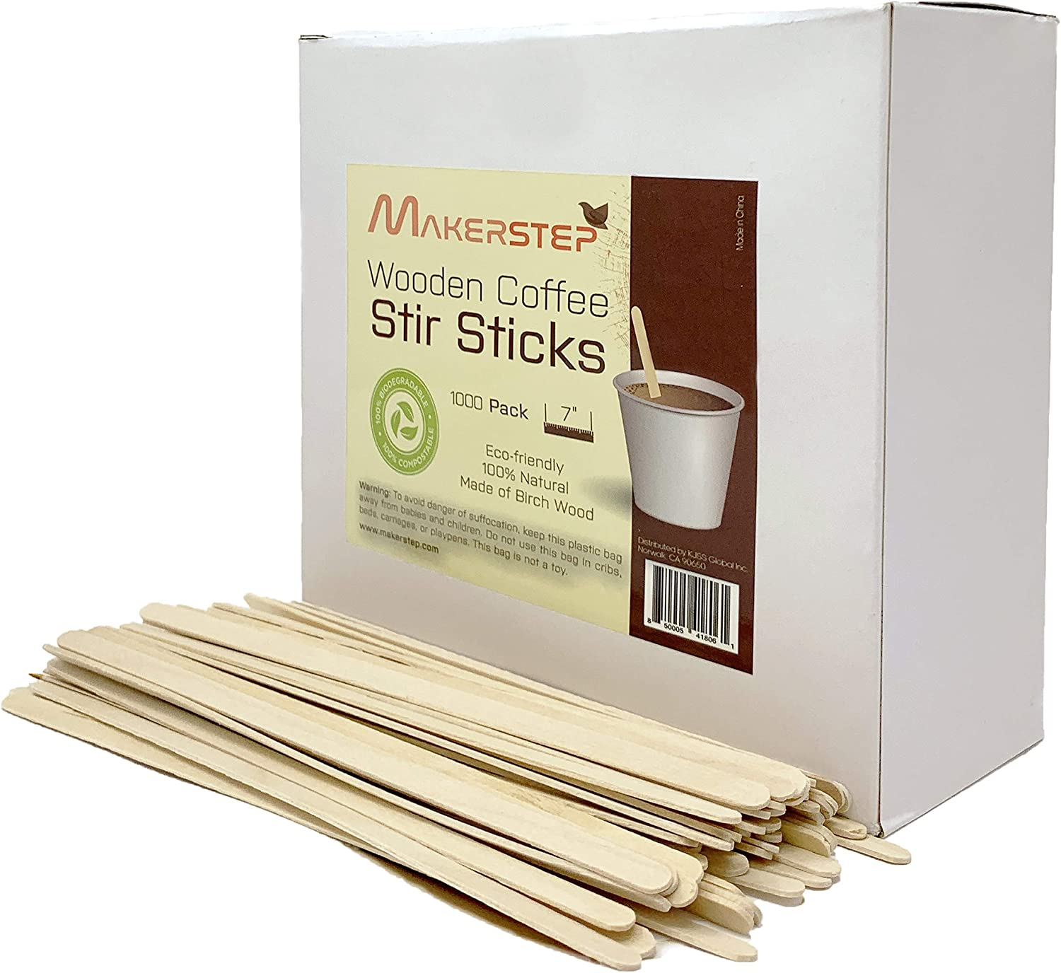 Makerstep Wooden Coffee Stir Sticks 7 Inch with Storage Box, 1000 Count, Sturdy Birch Wood Stirrers. Eco-friendly, Splinter Free, Round Ends.for Tea, Beverage, Craft, and Popsicle