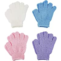 4 Pairs Exfoliating Gloves, Body Scrub Wash Mitts for Bath Shower, Luxury Spa Exfoliation Accessories for Men Women
