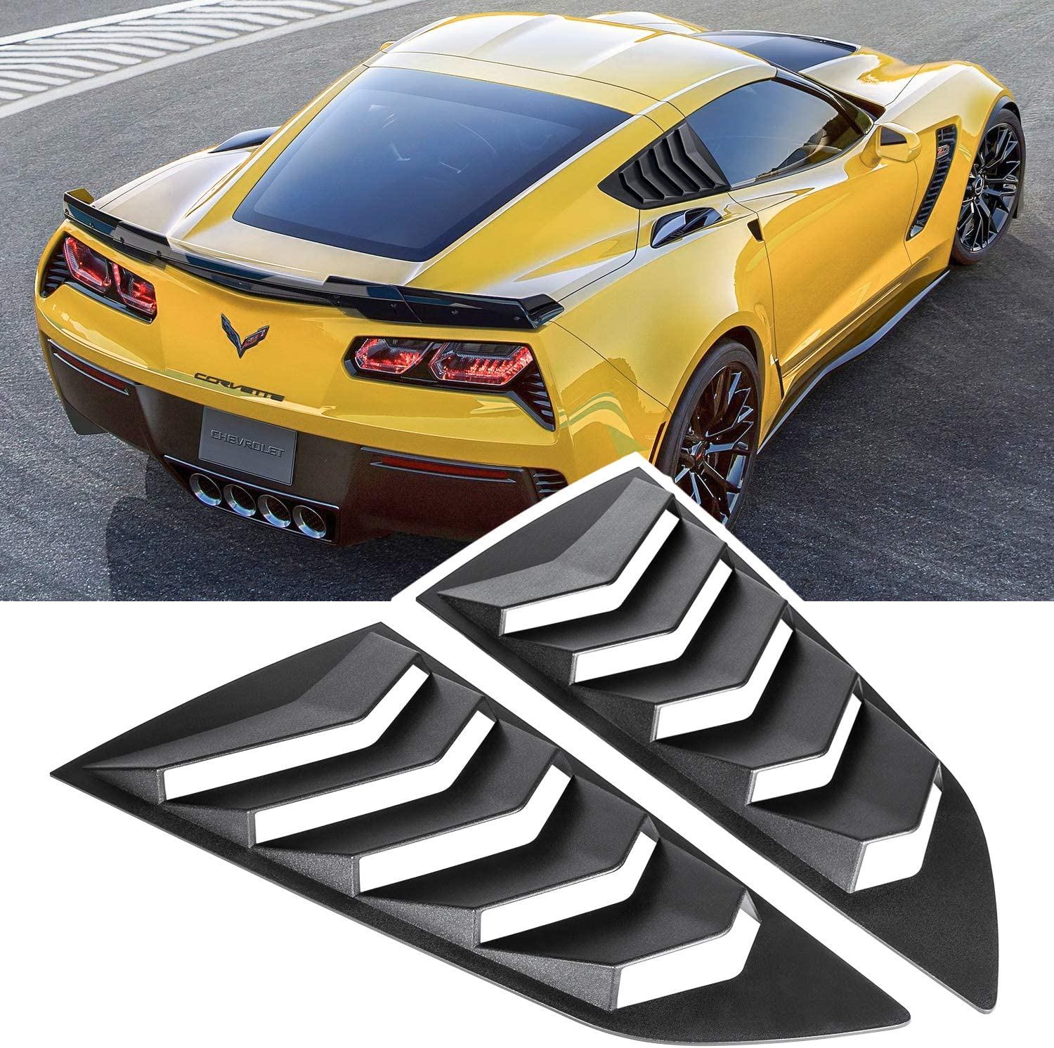 E-cowlboy Side Window Louver Windshield Sunshade Cover for 2014-2019 C7 Corvette Stingray Matte Black Z51 Z06 Grand Sport ZR1 in GT Lambo Style Custom Fit All Weather ABS