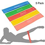 """Exercise Bands, 5 Set Strength/Resistance Exercise Loop Bands Workout Equipment. Each is 12""""x2""""(5.1cmx30.5cm). Tone Your Buttocks, Hips & Thighs. 5 Stretch Levels: Light-Medium-Heavy-X-Heavy-XX-Heavy"""