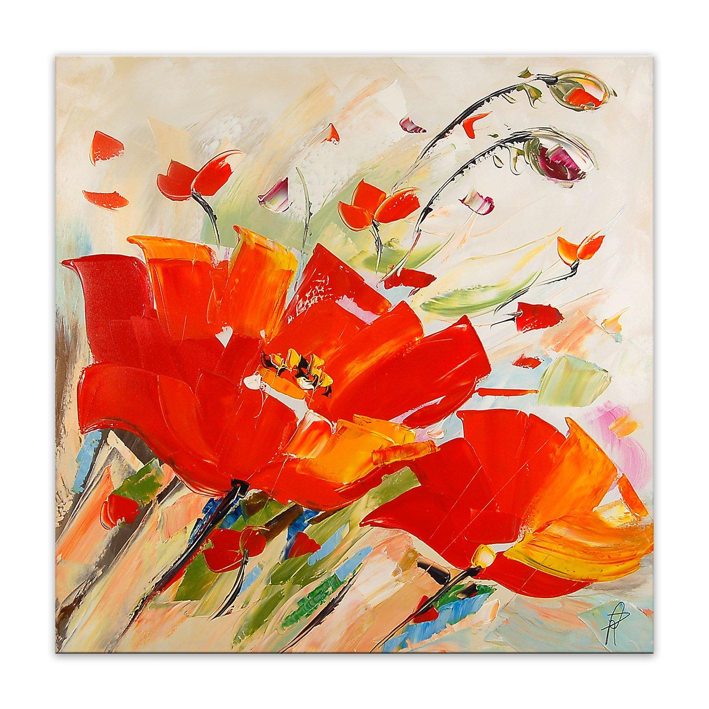 World Art TW60113 /Ästhetischer Webstuhl aus Holz Rote Mohnblumen flowers modern acryl gem/älde auf leinwand Druck von Hand dekoriert 80x80x3.5 Cm Holz