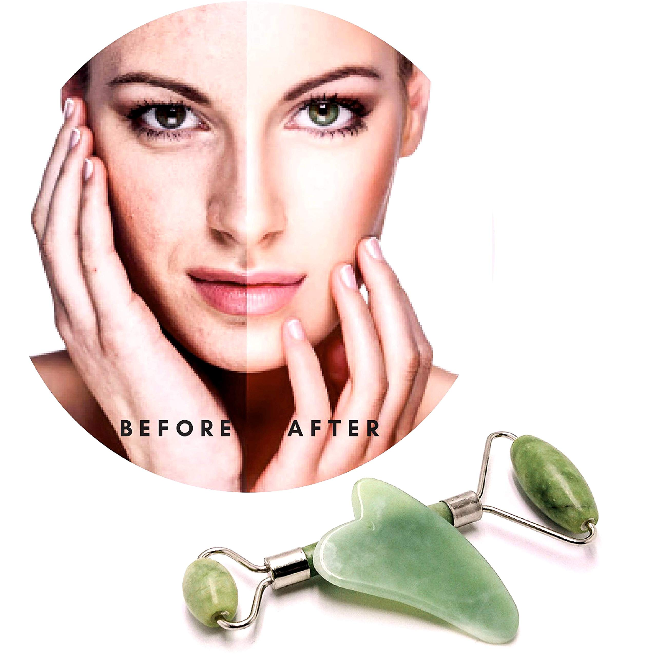 100% Real Jade Roller With Added Jade GuaSha Stone. Great for Skin Rejuvenation, Anti-Aging, Reducing Wrinkles, Puffy Eyes and Face Massages also Comes With Carrying Pouch.