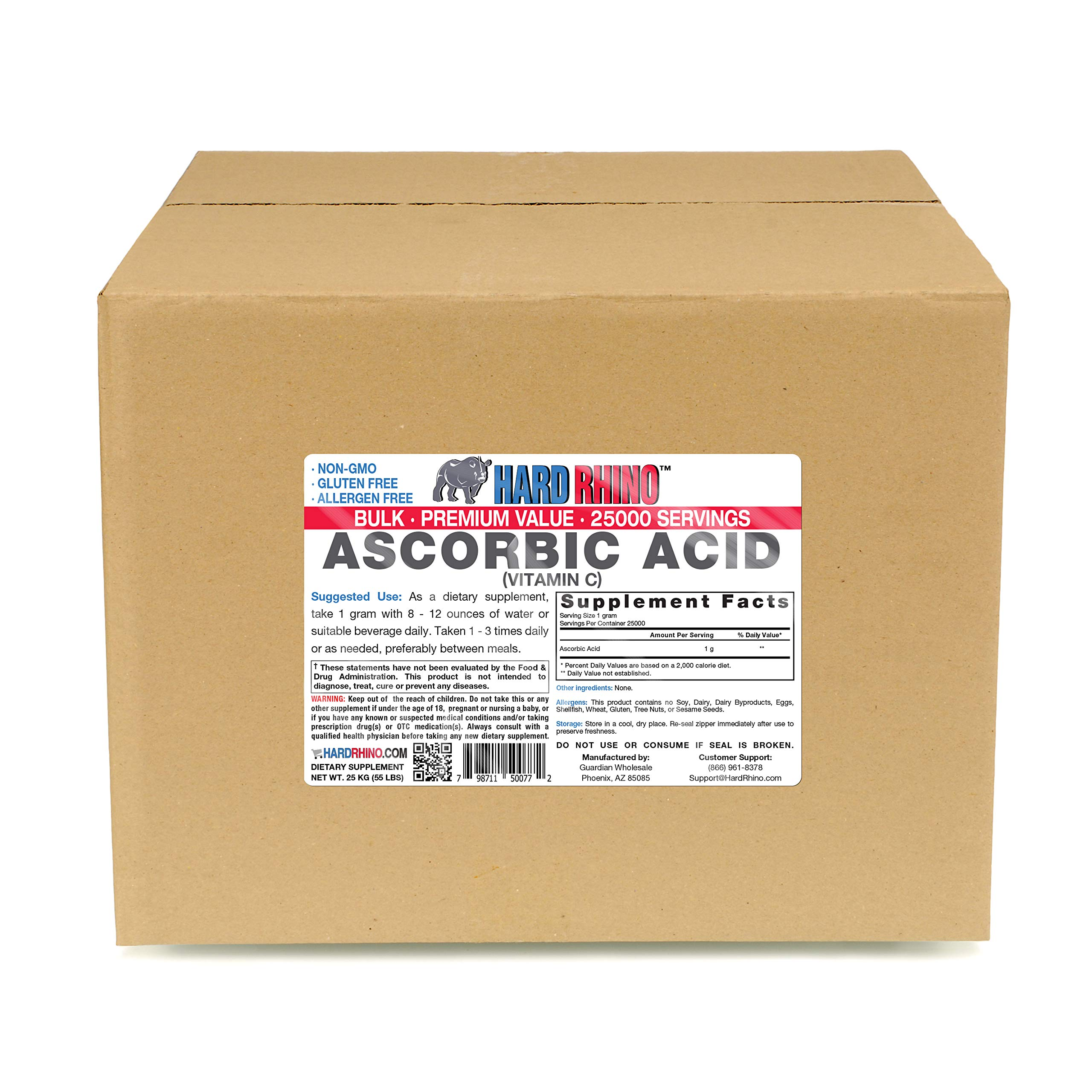 Hard Rhino Ascorbic Acid (Vitamin C) Powder, 25 Kilograms (55 Lbs), Unflavored, Lab-Tested