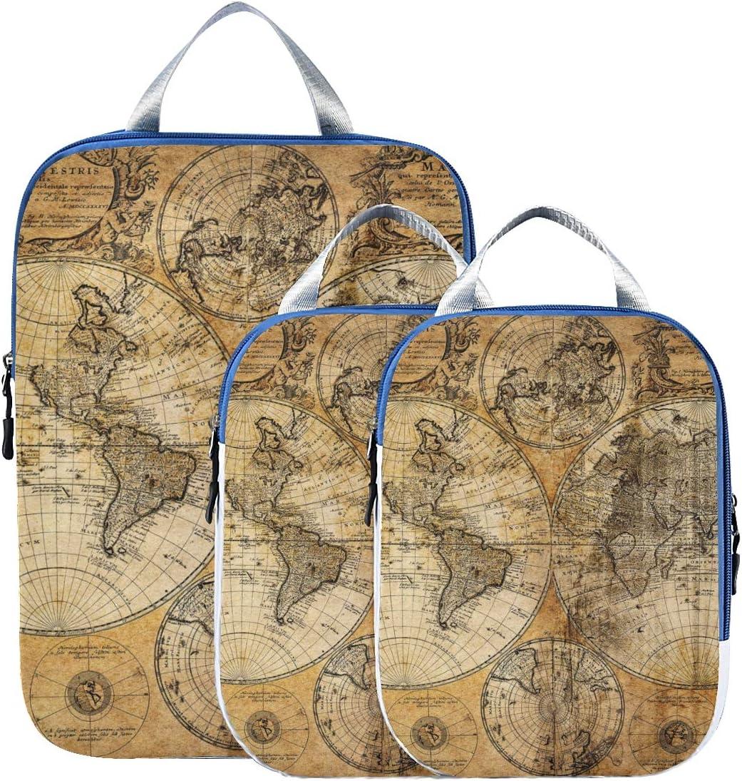 World Map 3 Set Packing Cubes,2 Various Sizes Travel Luggage Packing Organizers h