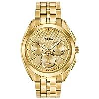 Deals on Bulova Men's 45mm Curv Goldtone Chronograph Watch 97A125