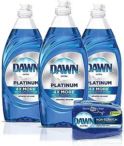Dawn Platinum Dishwashing Liquid Dish Soap (3x24oz) + Non-Scratch Sponge (2 Count), Refreshing Rain, 1 Set