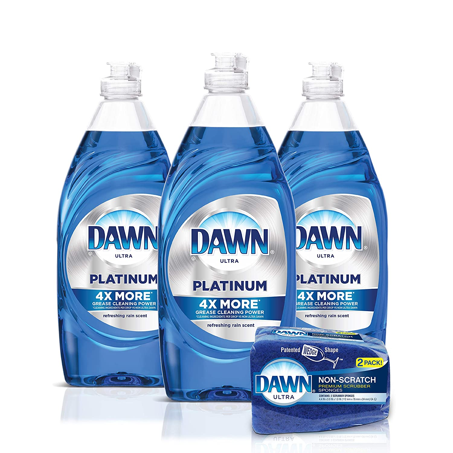Dawn Platinum Dishwashing Liquid Dish Soap - 24 Fl Oz (Pack of 3) + Non-Scratch Sponge (2 Count), Refreshing Rain