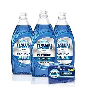 Dawn Platinum Dishwashing Liquid Dish Soap - 24 Fl Oz (Pack of 3) + Non-Scratch Sponge (2 Count), Refreshing Rain