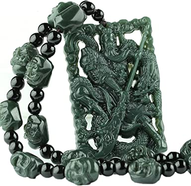 Natural Dark green Hand-carved Chinese Jade Pendant 关公 guan gong-Free Necklace
