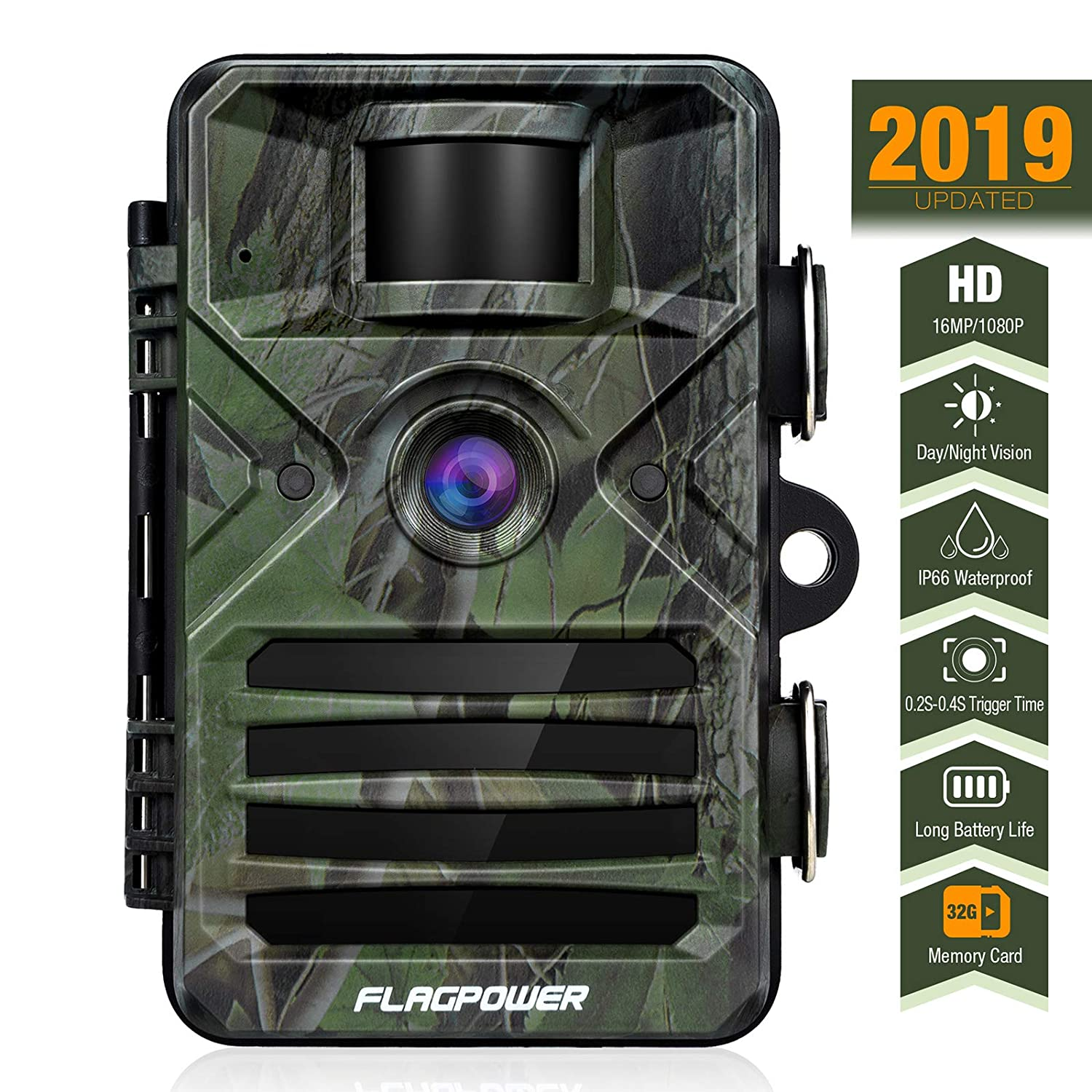 FLAGPOWER Trail Game Camera with Night Vision Motion Activated with 32GB Memory Card