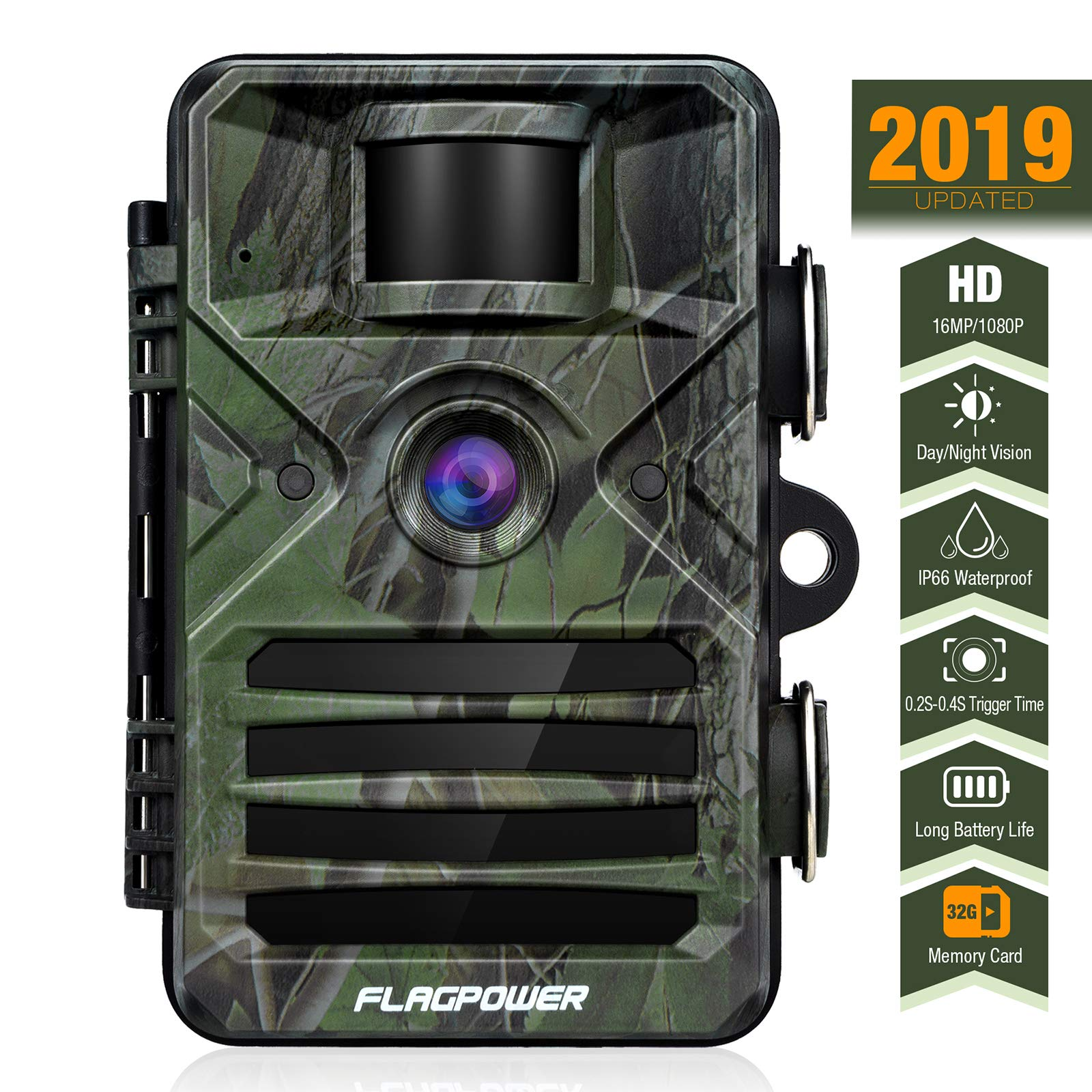 FLAGPOWER Trail Game Camera with Night Vision Motion Activated 16MP 1080P Hunting Camera with IP66 Waterproof 0.2s Trigger Time 32GB Memory Card 2.4'' LCD Display for Wildlife Monitor
