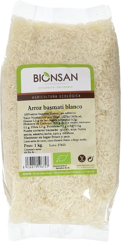 Bionsan Arroz Basmati Blanco Ecológico - 3 Paquetes de 1000 gr - Total: 3000 gr