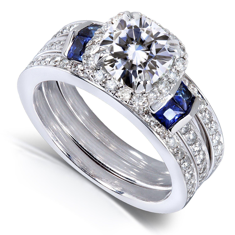 Amazon Cushion cut Moissanite Bridal Set with Diamond
